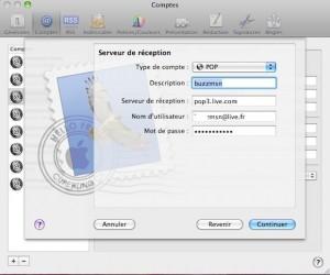 Serveur de réception : pop3.live.com