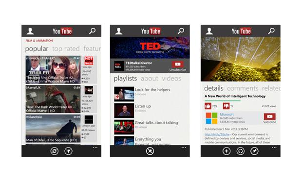 Windows Phone Store : retour de YouTube