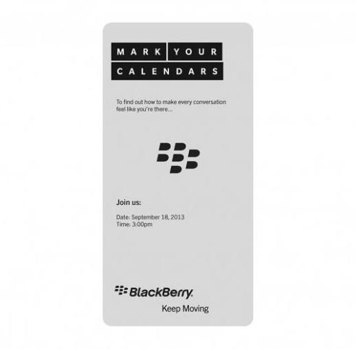 BlackBerry envoie des invitations pour un évènement prévu le 18 septembre