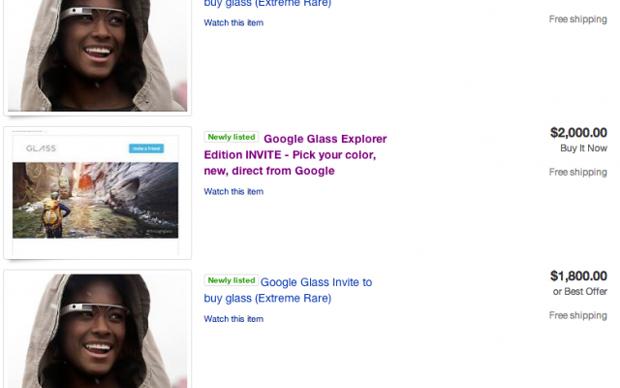 Les invitations Google Glass envahissent eBay