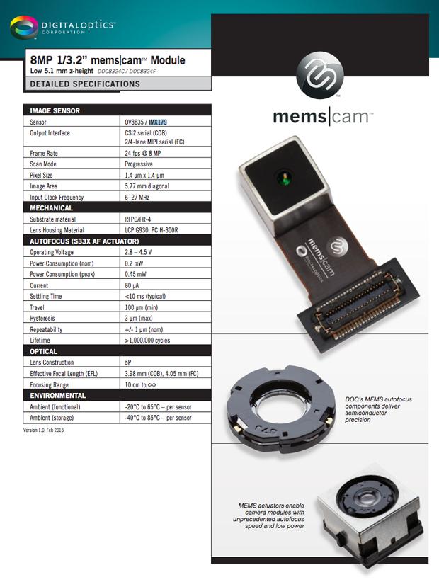 Le Nexus 5 pourrait être le premier smartphone équipé du module photo MEMS.