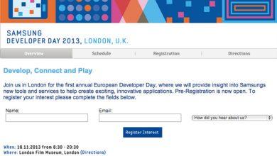 Inscrivez-vous rapidement sur la liste si vous êtes intéressé par le Samsung Developer Day 2013 de Londres.