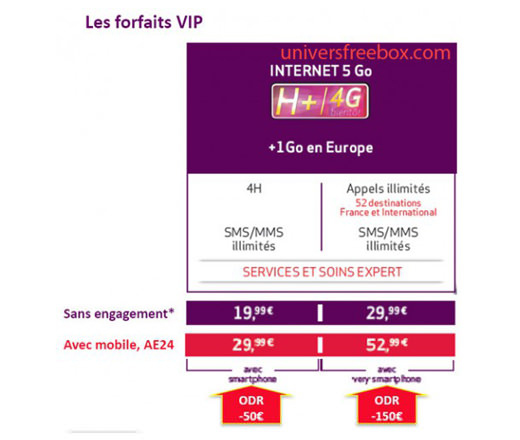 Les forfaits « VIP » seront disponibles à compter du 23 novembre 2013