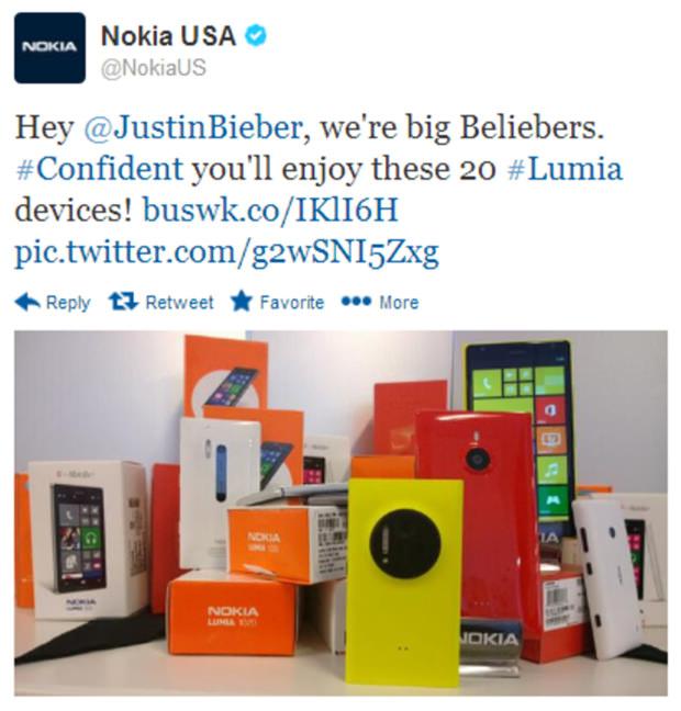 Nokia a proposé une sélection de 20 appareils à Justin Bieber. A-t-il accepté ?