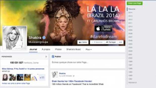 Shakira passe la barre des 100 millions de fans sur Facebook !