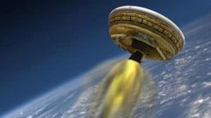 Représentation du ballon envoyé dans l'atmosphère grâce à une «soucoupe».