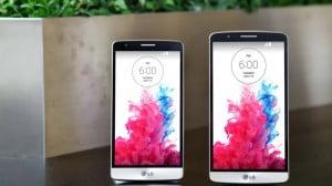 Le LG G3 Beat (à gauche) présente un écran de 5 pouces, à comparer aux 5,5 pouces du G3.