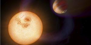 Vue d'artiste d'une exoplanète découverte par le télescope Hubble.