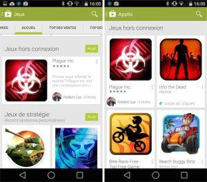 Google Play liste les jeux hors connexion