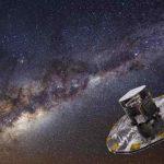 Vue d'artiste du télescope Gaïa face à la Voie lactée.