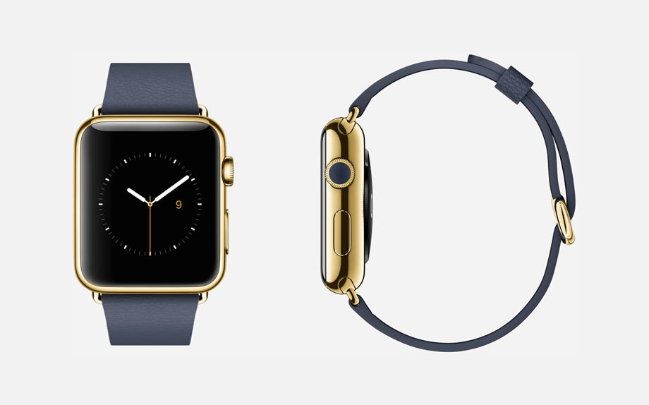 APPLE WATCH EDITION : 42mm Case - 18-Karat Yellow Gold - Sapphire Crystal Display - Ceramic Back - Classic Buckle - Midnight Blue Leather - 18-Karat Yellow Gold Buckle