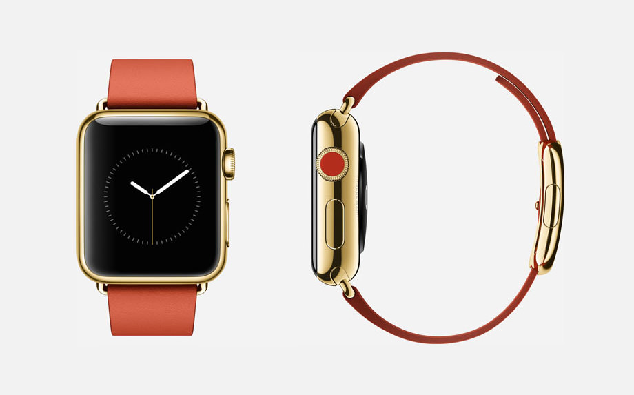 APPLE WATCH EDITION : 38mm Case - 18-Karat Yellow Gold - Sapphire Crystal Display - Ceramic Back - Modern Buckle - Bright Red Leather - 18-Karat Yellow Gold Buckle