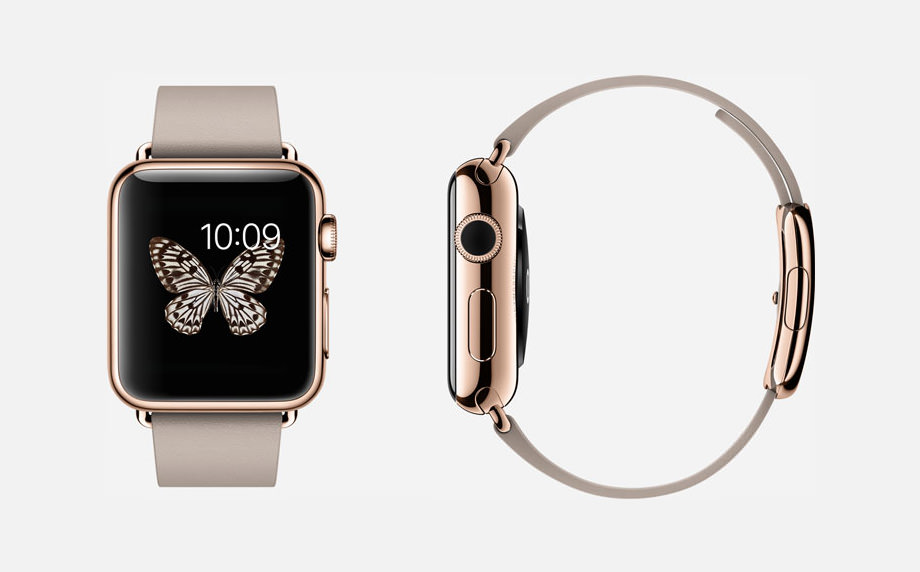 APPLE WATCH EDITION : 38mm Case - 18-Karat Rose Gold - Sapphire Crystal Display - Ceramic Back - Modern Buckle - Rose Gray Leather - 18-Karat Rose Gold Buckle