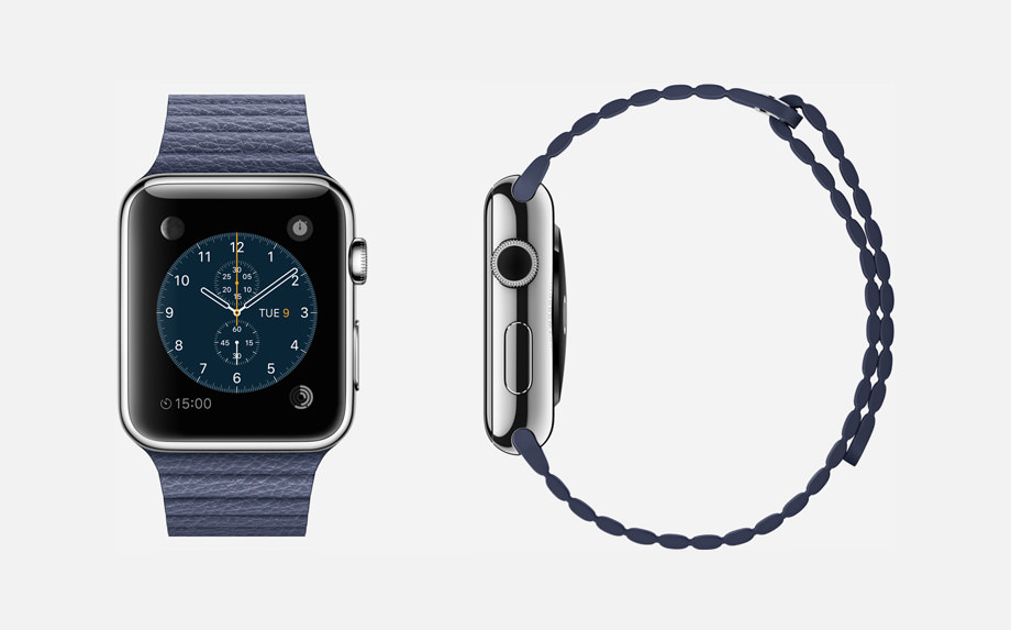 APPLE WATCH : 42mm Case - 316L Stainless Steel - Sapphire Crystal Display - Ceramic Back - Leather Loop - Bright Blue Leather - Magnetic Closure