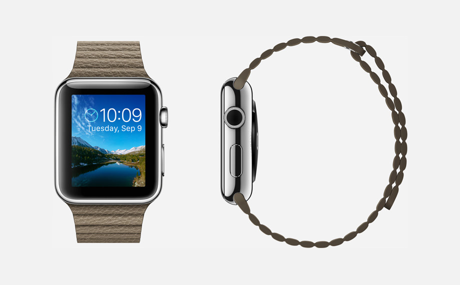 APPLE WATCH : 42mm Case - 316L Stainless Steel - Sapphire Crystal Display - Ceramic Back - Leather Loop - Light Brown Leather - Magnetic Closure