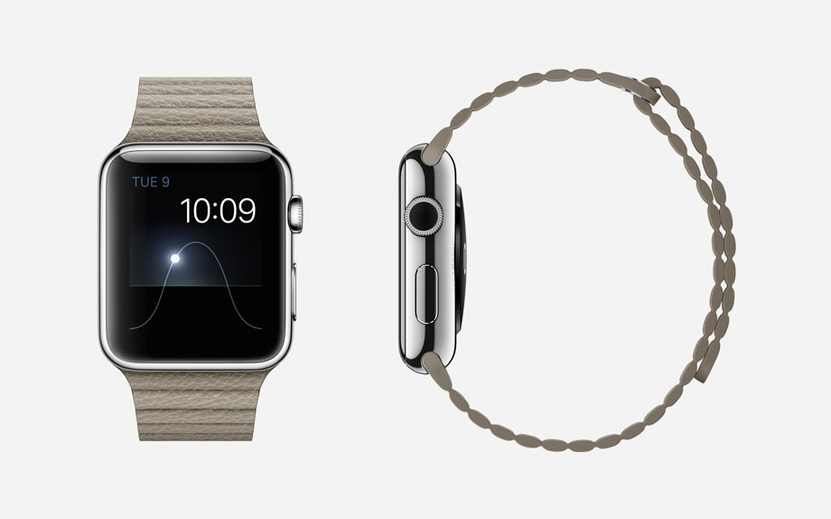 APPLE WATCH : 42mm Case - 16L Stainless Steel - Sapphire Crystal Display - Ceramic Back - Leather Loop - Stone Leather - Magnetic Closure
