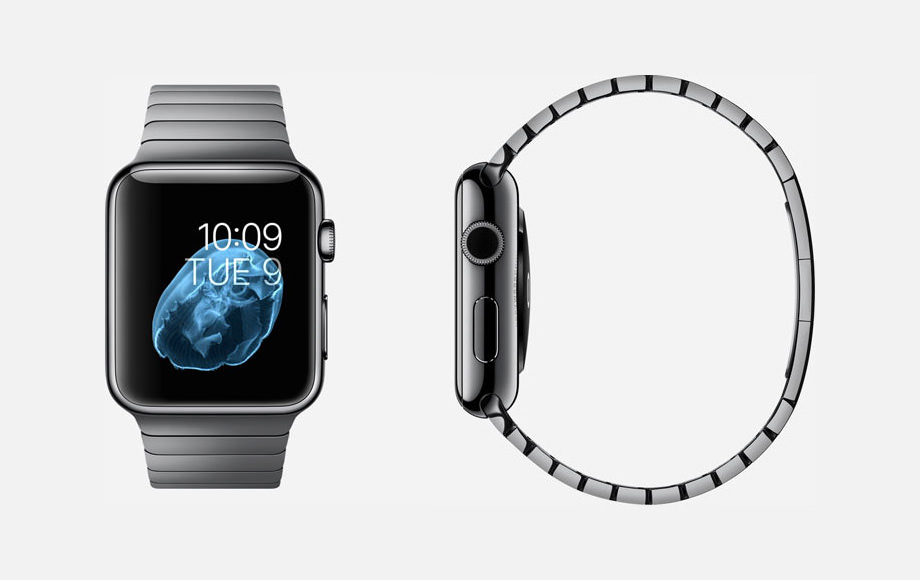 APPLE WATCH : 38mm and 42mm Case - 316L Space Black Stainless Steel - Sapphire Crystal Display - Ceramic Back - Link Bracelet - Space Black Stainless Steel - Butterfly Closure