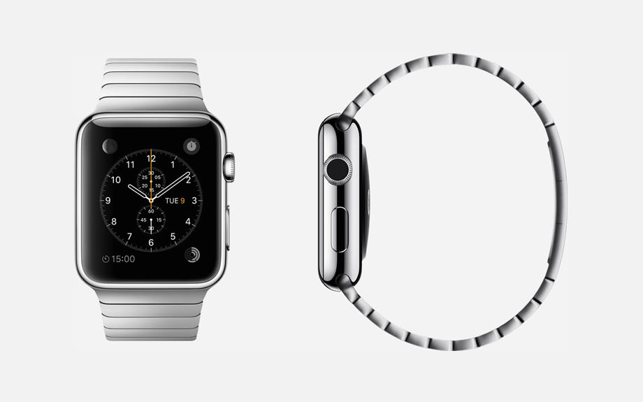 APPLE WATCH : 38mm and 42mm Case - 316L Stainless Steel - Sapphire Crystal Display - Ceramic Back - Link Bracelet - Stainless Steel - Butterfly Closure