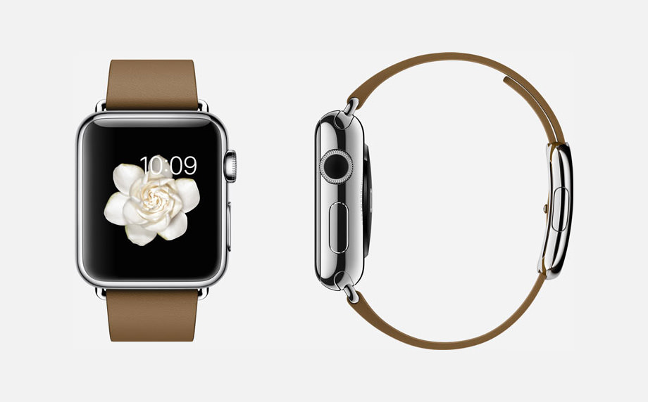 APPLE WATCH : 38mm Case - 316L Stainless Steel - Sapphire Crystal Display - Ceramic Back - Modern Buckle - Brown Leather - Stainless Steel Buckle