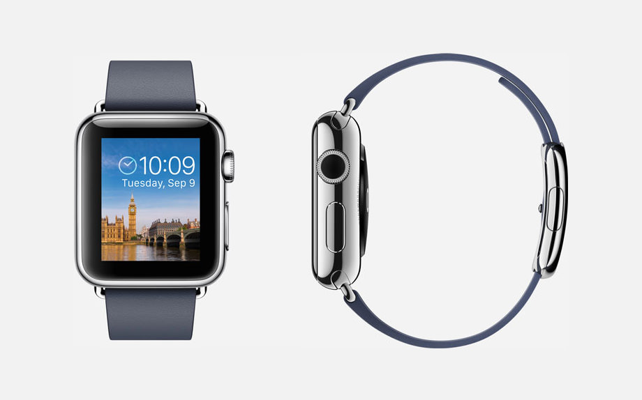 APPLE WATCH : 38mm Case - 316L Stainless Steel - Sapphire Crystal Display - Ceramic Back - Modern Buckle - Midnight Blue Leather - Stainless Steel Buckle