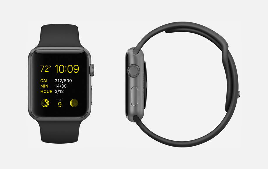 APPLE WATCH SPORT : 38mm and 42mm Case - 7000 Series Space Gray Aluminum - Ion-X Glass Display - Composite Back - Sport Band - Black Fluoroelastomer - Space Gray Stainless Steel Pin