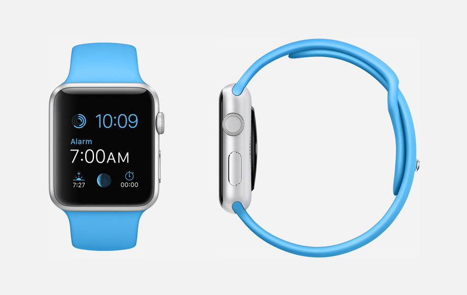 APPLE WATCH SPORT : 38mm and 42mm Case - 7000 Series Silver Aluminum - Ion-X Glass Display - Composite Back - Sport Band - Blue Fluoroelastomer - Stainless Steel Pin