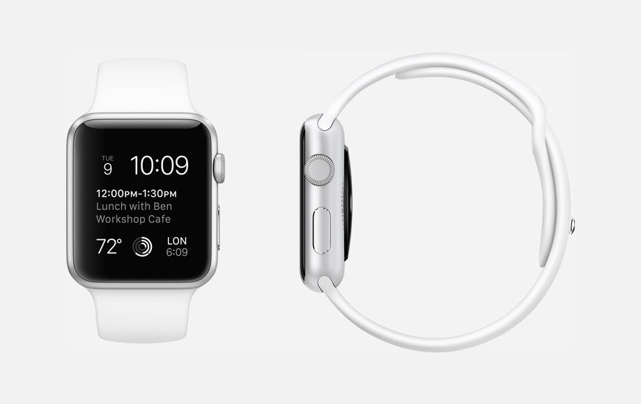 APPLE WATCH SPORT : 38mm and 42mm Case - 7000 Series Silver Aluminum - Ion-X Glass Display - Composite Back - Sport Band - White Fluoroelastomer - Stainless Steel Pin