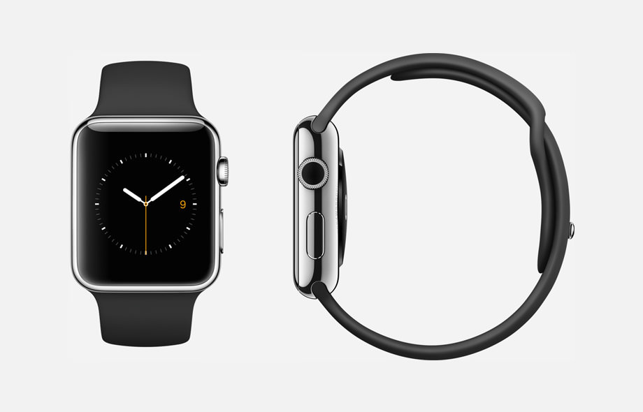 APPLE WATCH : 38mm and 42mm Case - 316L Stainless Steel - Sapphire Crystal Display - Ceramic Back - Sport Band - Black Fluoroelastomer - Stainless Steel Pin