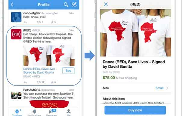 """Avec le bouton """"Buy now"""", Twitter part à l'assaut du e-commerce"""