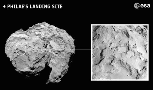 Le site d'atterrissage du robot Philae sur la comète. Photo ESA
