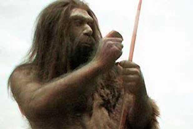 Représentation d'un homme de Néandertal.