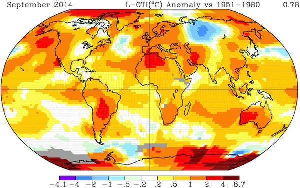 Septembre 2014, mois le plus chaud jamais mesuré par la Nasa