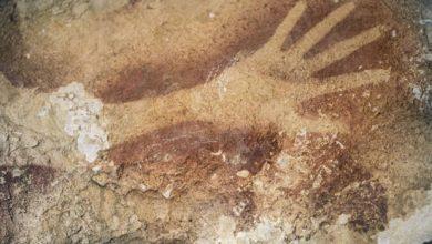 Empreinte de main datant de 39 900 ans, dans l'île de Sulawesi.