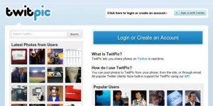 La page d'accueil de Twitpic lorsque le site était encore ouvert.