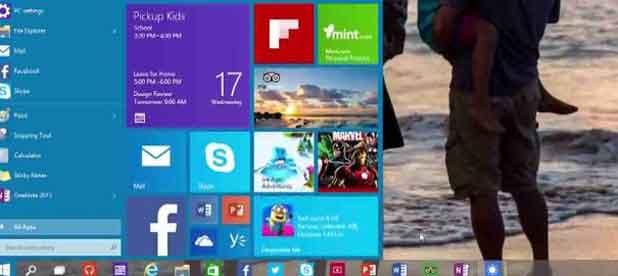 """Le nouveau menu """"Démarrer"""" de Windows 10."""