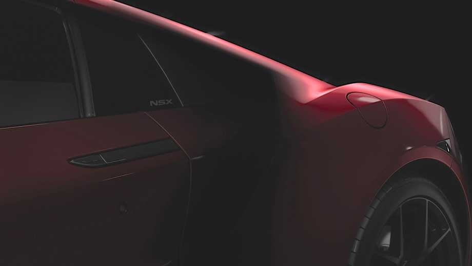 L'Acura NSX sera propulsé par des moteurs électriques et un moteur à essence turbocompressé situé entre l'habitacle et le train arrière pour une répartition optimale du poids. (Crédit photo : Acura)