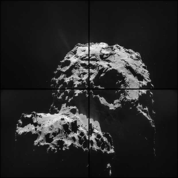 Vue de 67P/Churyumov-Gerasimenko prise par la sonde Rosetta le 30 novembre 2014 qui montre le « cou » de la comète. Crédit : ESA/Rosetta/NAVCAM – CC BY-SA 3.0 d'IGO.