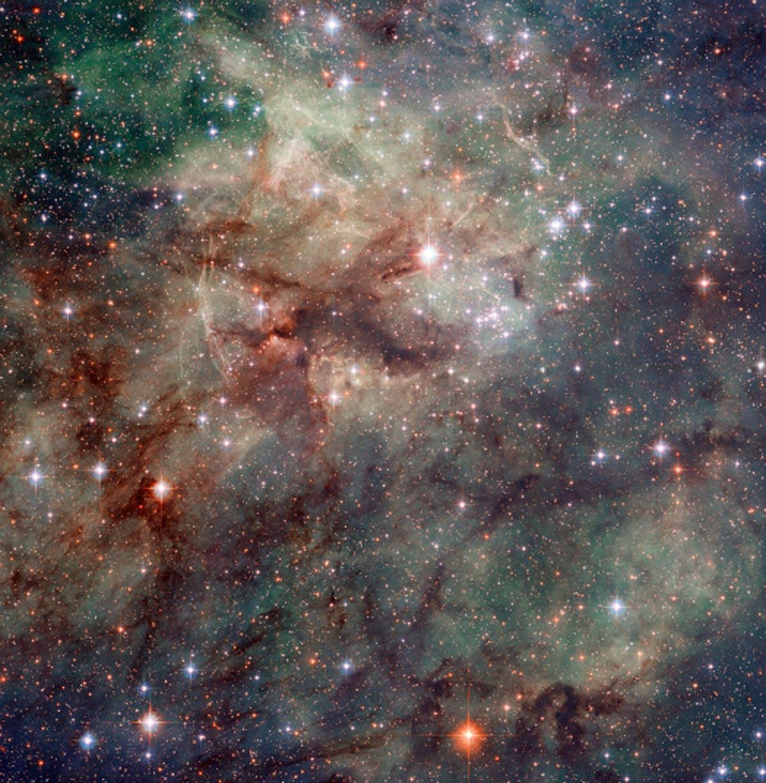 16. Gros plan d'une partie de la nébuleuse de la tarentule. Il s'agit d'une région de formation d'étoiles d'hydrogène ionisé dans le grand nuage de Magellan. (Photo : NASA/ESA/Hubble)