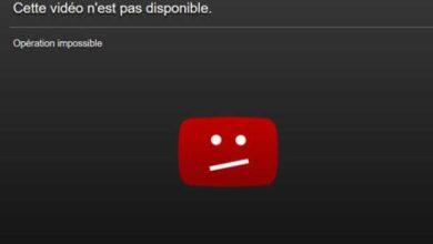 Message d'erreur de Youtube.