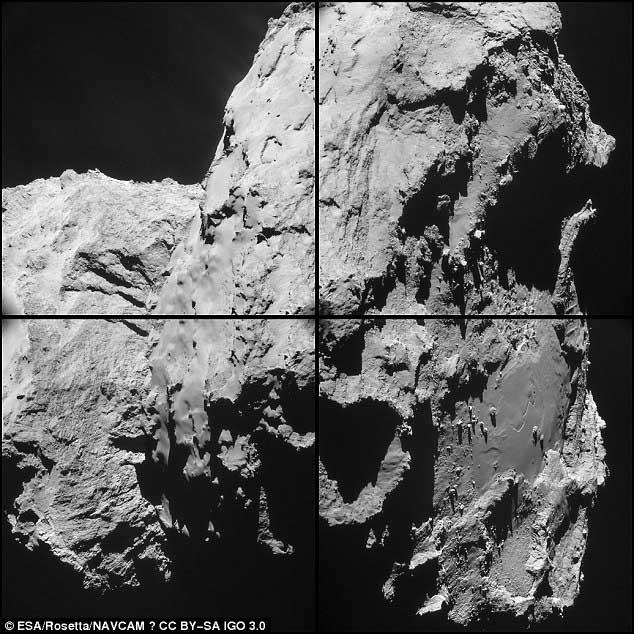 Un assemblage de 4 clichés pris samedi de la région du « cou ». Pris à 14 km, la résolution est de 1,7 m/pixel. On trouve le grand lobe de la comète glacée à gauche, et le petit lobe vers la droite.