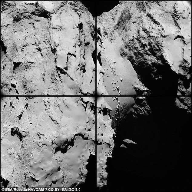 Assemblage de 4 clichés montrant la région du « cou » parsemée de rochers. L'échelle est de 1,4 m/pixel.