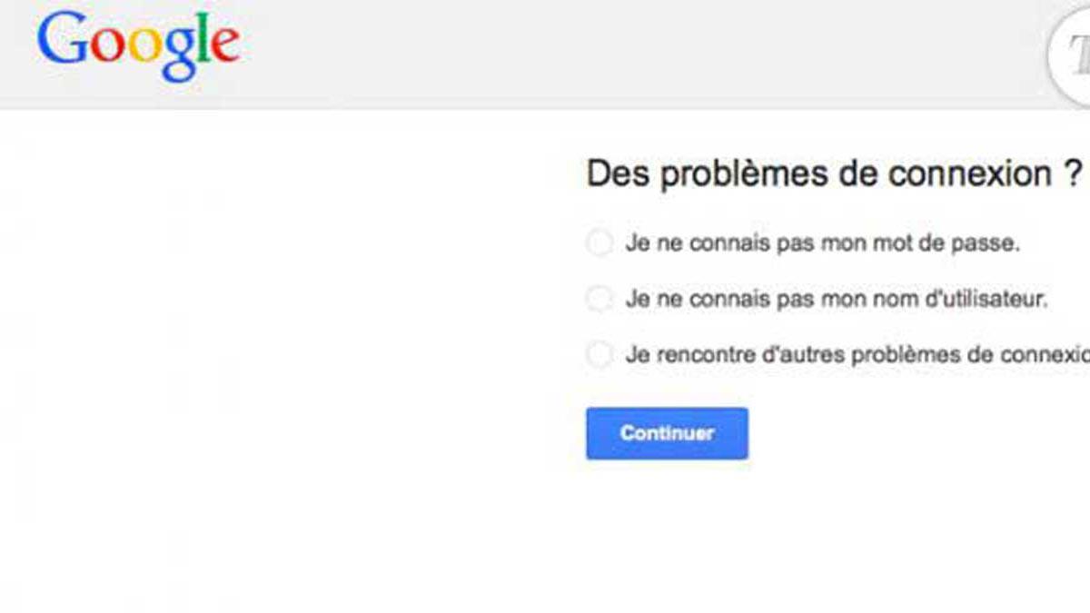 Formulaire de récupération d'un compte Google