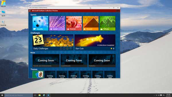 Le Solitaire au sein de la Technical Preview 10061 de Windows 10.