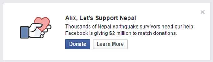 Facebook a lancé un appel aux dons pour les victimes du séisme au Népal