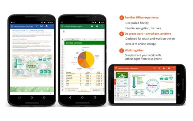 Word, Excel et Powerpoint débarquent sur Android