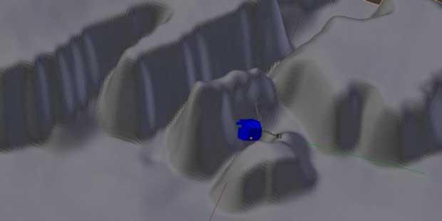 Modélisation de l'emplacement possible de Philae.