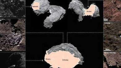 Voici quelques-unes des plaques de glace d'eau repérées à la surface de la comète Tchouri.