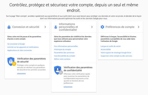 La plateforme « Mon Compte » mise en place par Google.