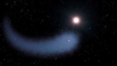 L'exoplanète gravitant autour de sa naine rouge avec son immense nuage de gaz.