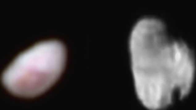 Nix et Hydre, les deux plus petites lunes de Pluton, vues par la sonde New Horizons. Photo : NASA